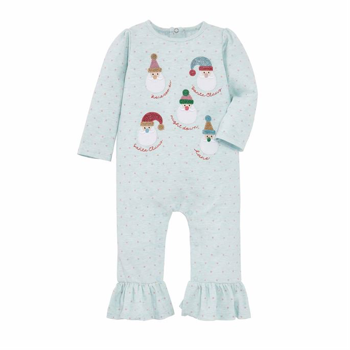 Santas on Pale Blue Dot One Piece - Select Size