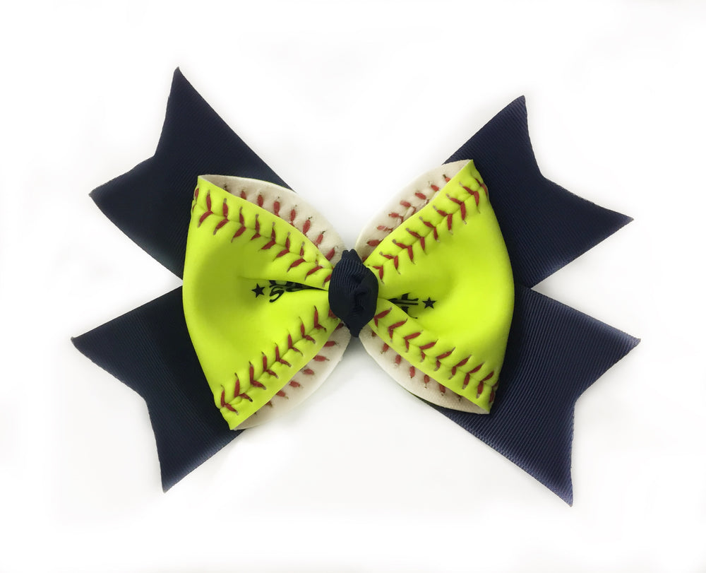 Softball Bow (Neon Yellow)- Choose Red, Navy, Black, Hot Pink, Deep Red/Maroon or Royal Blue Ribbon