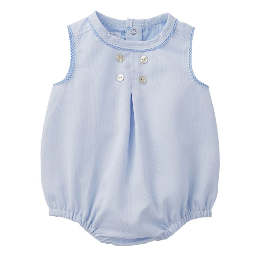 Gingham Piped Blue Boy's Bubble - Select size
