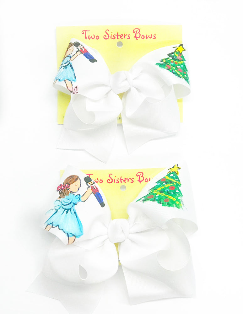 "Nutcracker -Handpainted White Hair bow - Choose 6"" or 8"""