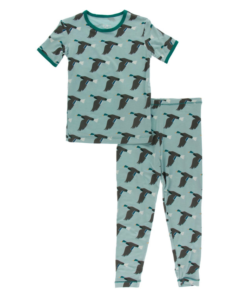 Jade Mallard Print Short Sleeve Pajama Set- Select Size