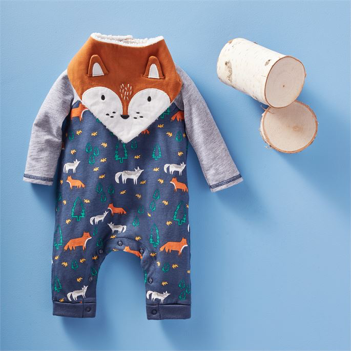 Fox One-Piece and Bib Set - Select Size