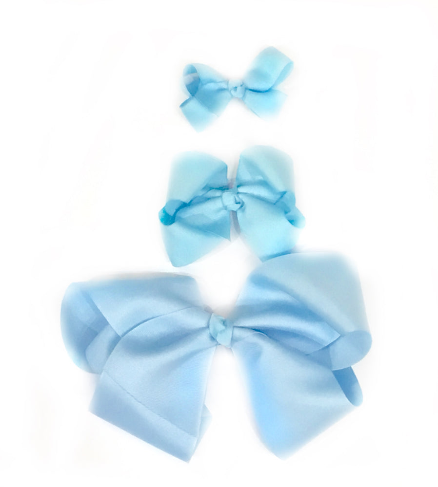"Sky Blue Hair Bow - Choose Size (3""-8"")"