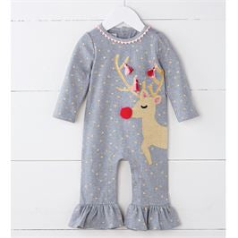 Sequin & Tassel Reindeer One-Piece - Select Size
