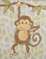 Safari Monkey in Blue- CP240 - Wall Art