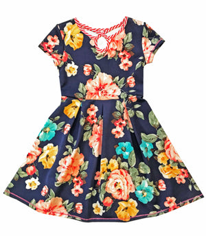 Navy Floral Dress with Cap Sleeves - Select Size