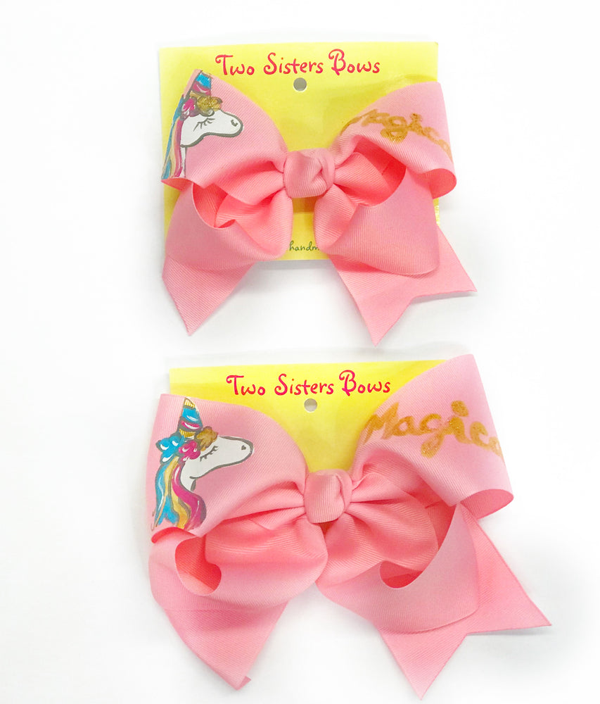"Unicorn / Magic -Handpainted Pink Hair bow - Choose 6"" or 8"""