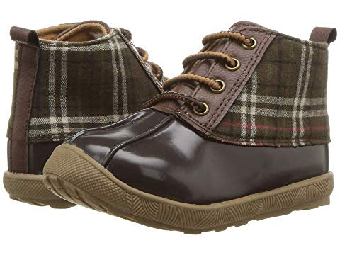 Brown Duck Boots with Plaid Trim
