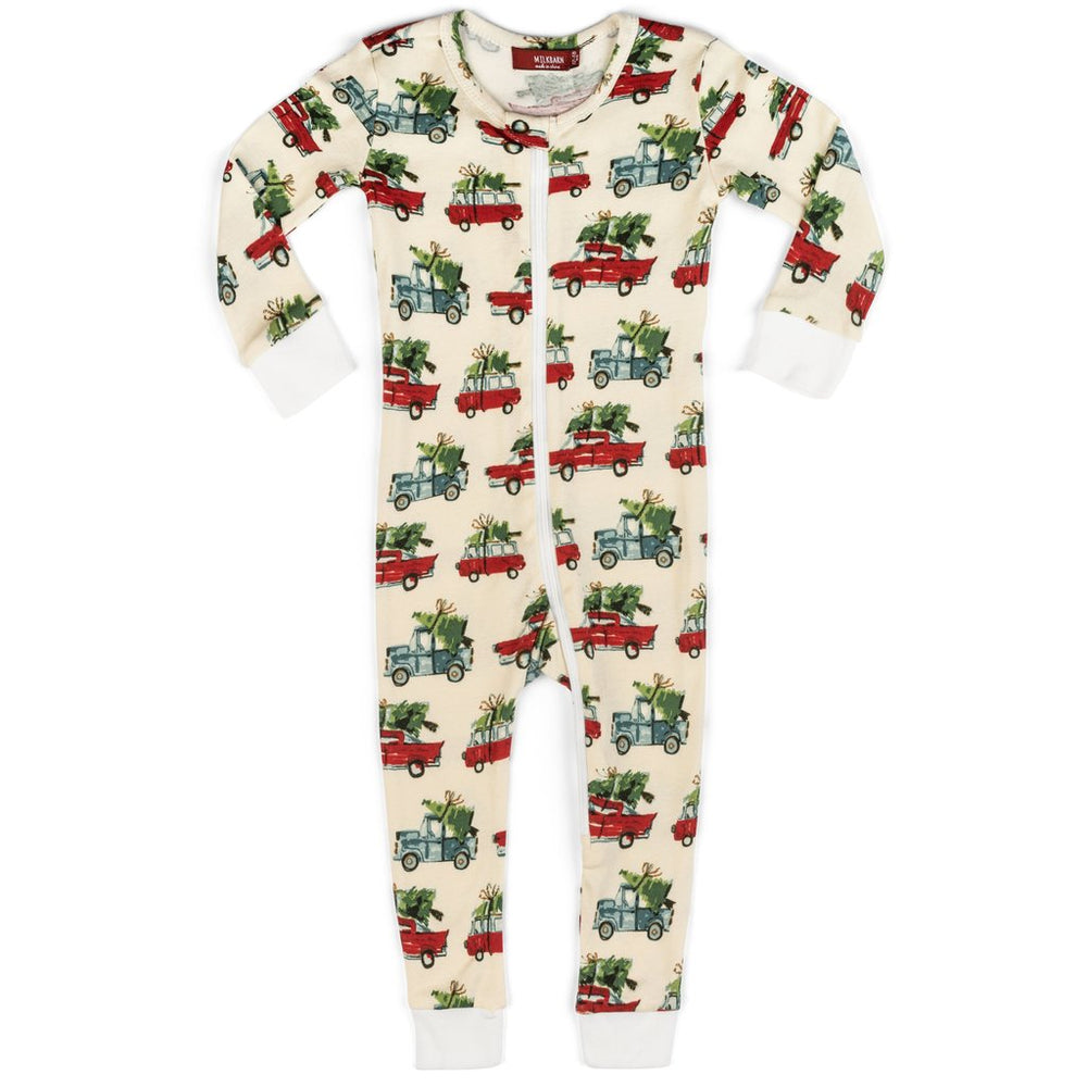 Christmas Cars Organic Cotton Zipper Pajama in Bag