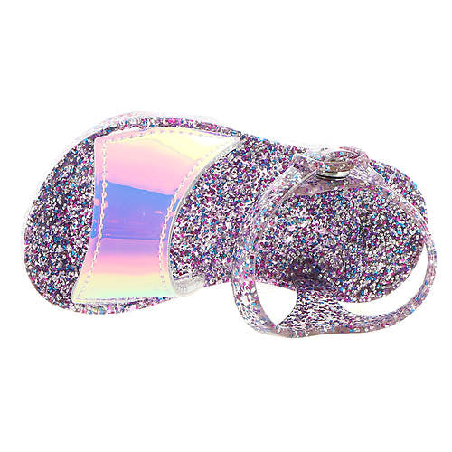 Jelly Sandals Silver & Multi Glitter Iridescent Accent