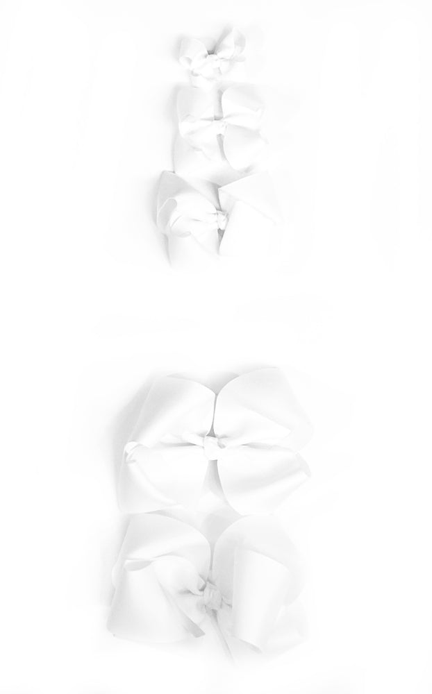 "White Hair Bows - Choose Size (3""-8"")"