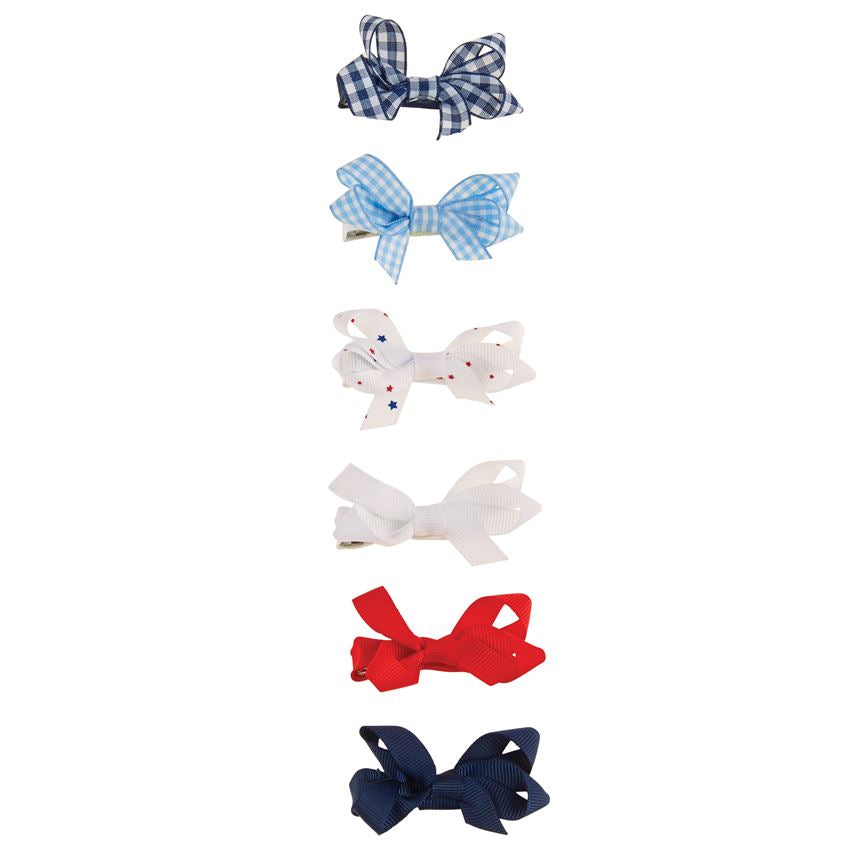 Red and Blue Bitty Bow Set
