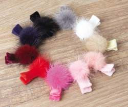 Mink Pom Poms On Velvet Covered Clippies - Select Color
