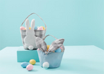 Gingham Grey Or Blue Easter Baskets - Select Style