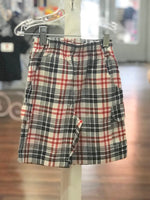 Plaid Red, White & Blue Pull-On Shorts With Cargo Pockets- CR Sports - Select Size