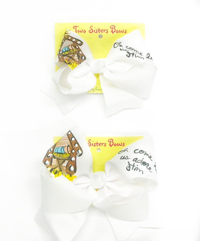 "O Come Let Us Adore Him / Manger -Handpainted White Hair bow - Choose 6"" or 8"""