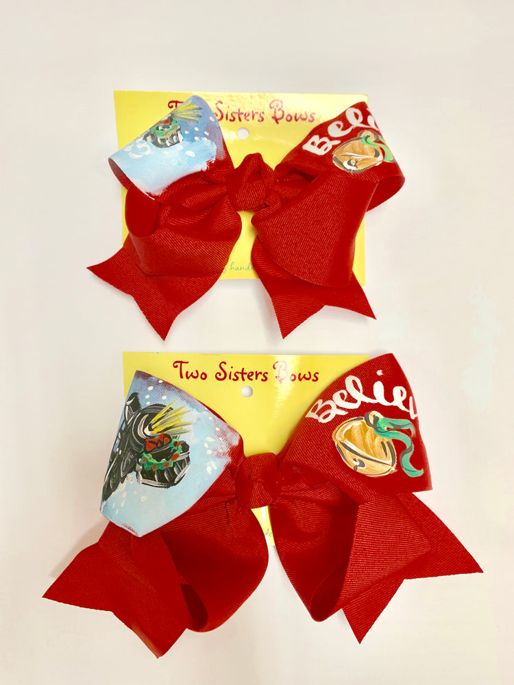 "Believe ! Polar Express - Handpainted Red Hair bow - Choose 6"" or 8"""