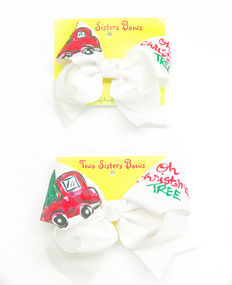 "Christmas Truck -Handpainted White Hair bow - Choose 6"" or 8"""