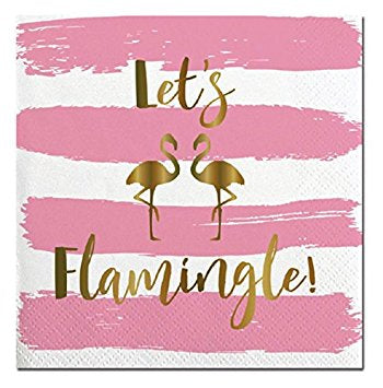 Let's Flamingle-Beverage Napkins-20 Count