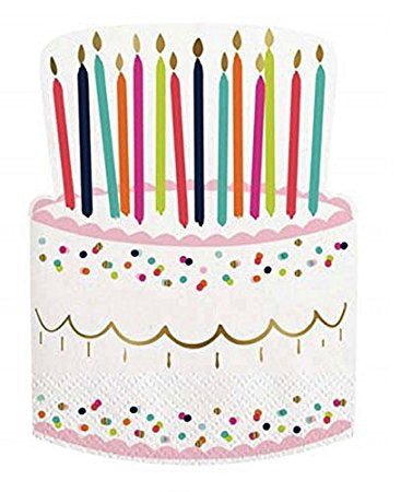 Birthday Cake & Candles-Beverage Napkins-20 count