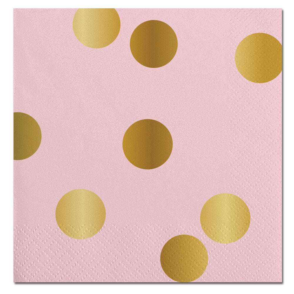 Pink With Gold Dots-Beverage Napkins-20 count