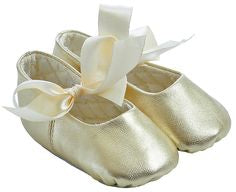 Gold Leather Sabrina Ballet Flat With Ribbon