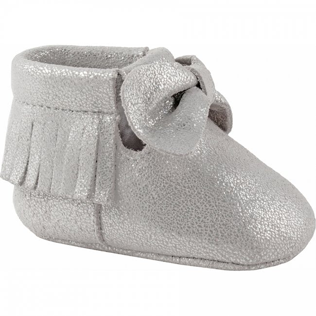 Silver Moccasin With Fringe and Bow