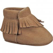 Brown Suede Moccasin With Fringe Trim