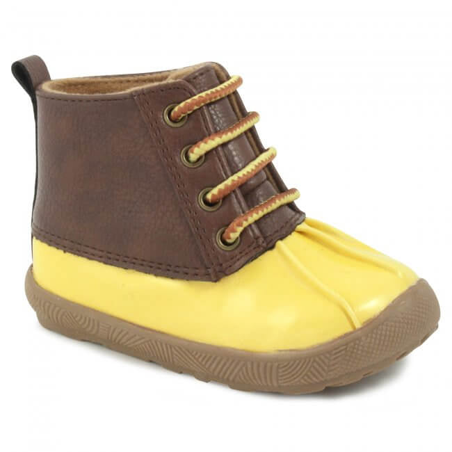 Yellow & Brown Lace-Up Duck Boots
