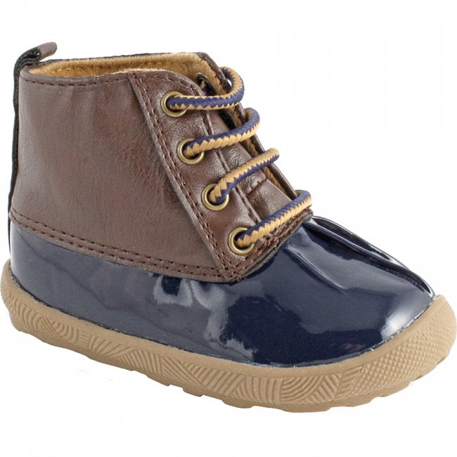 Navy & Brown Lace-Up Duck Boots