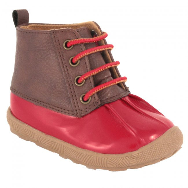 Red & Brown Lace-Up  Duck Boots