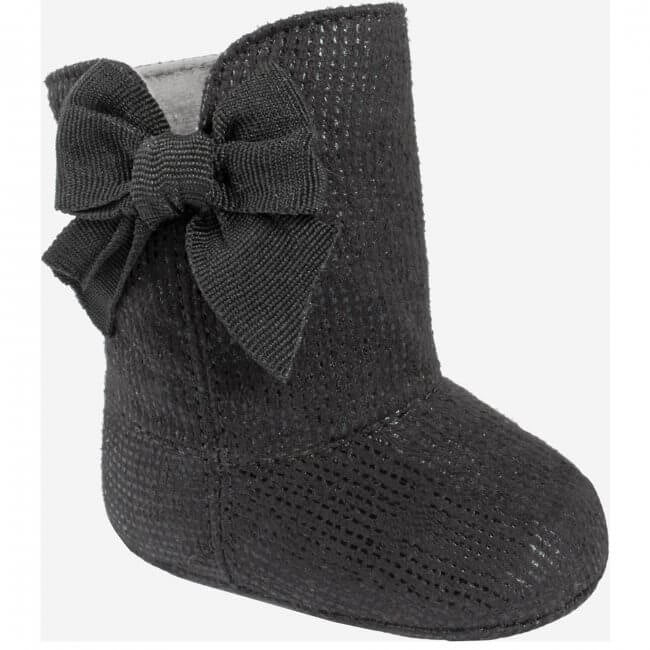 Black Suedecloth Boot with Side Grosgrain Bow