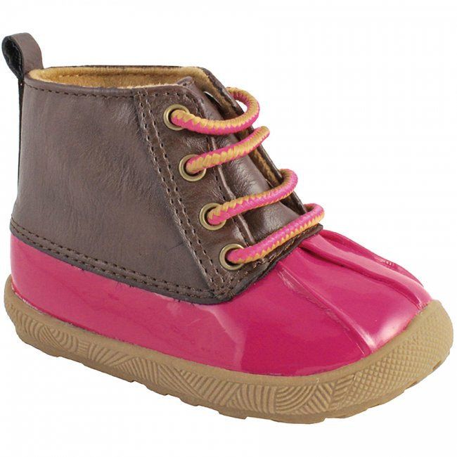 Fuchsia & Brown Lace-Up Duck Boots