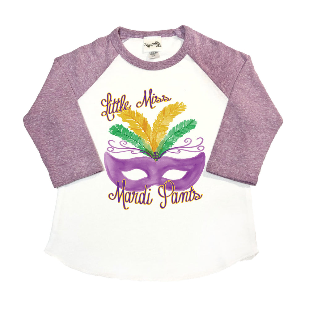 Little Miss Mardi Pants - Baseball Tee