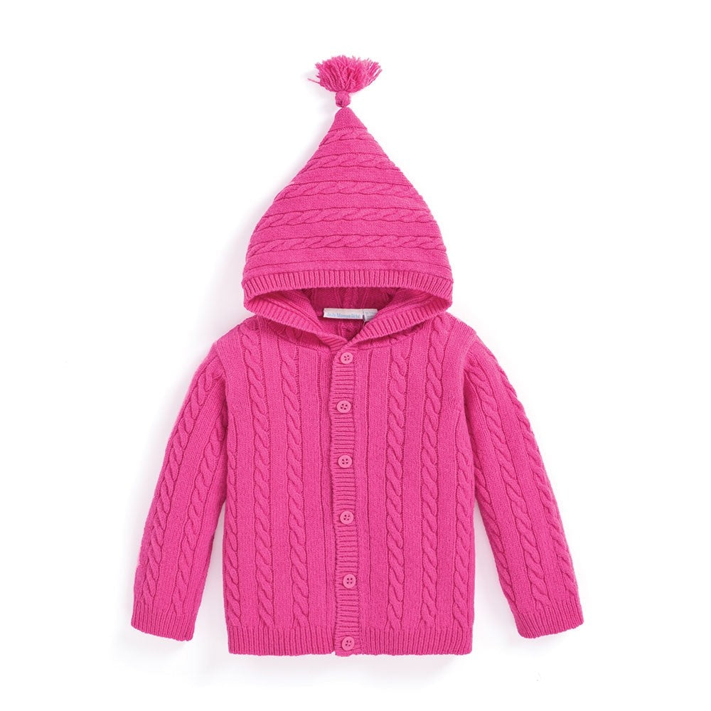 Hooded Cable Knit Cardigan - Fuchsia - Select Size
