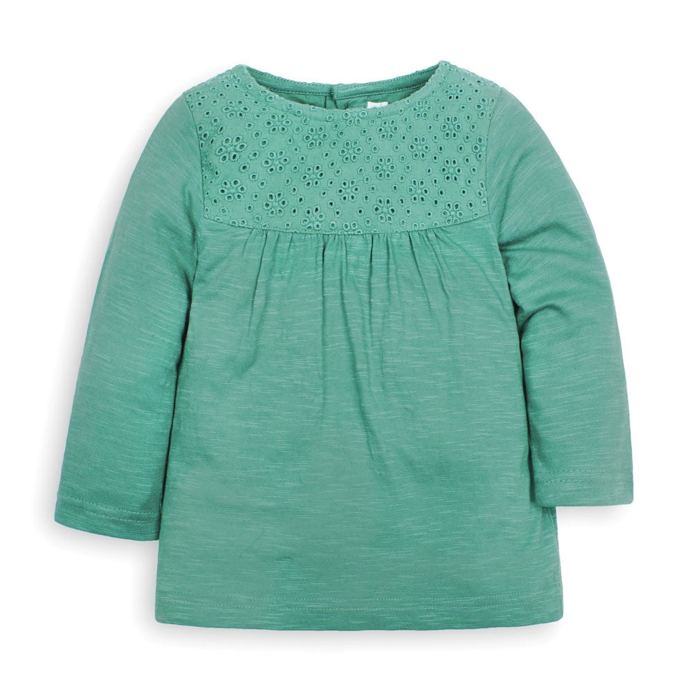Broderie Anglaise Top in Green With Matching Fox Leggings- 2 Piece Set - Select Size