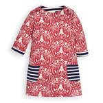 Reindeer A-Line Dress - Red with Navy - Select Size