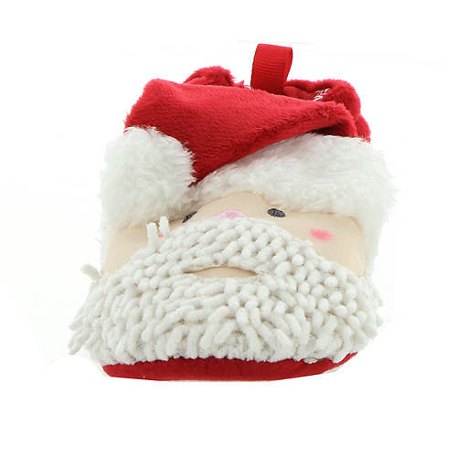 Red Velour Santa Head Stroller Slipper with Chenille - Select Size