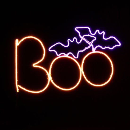 Boo with Bats LED Sign