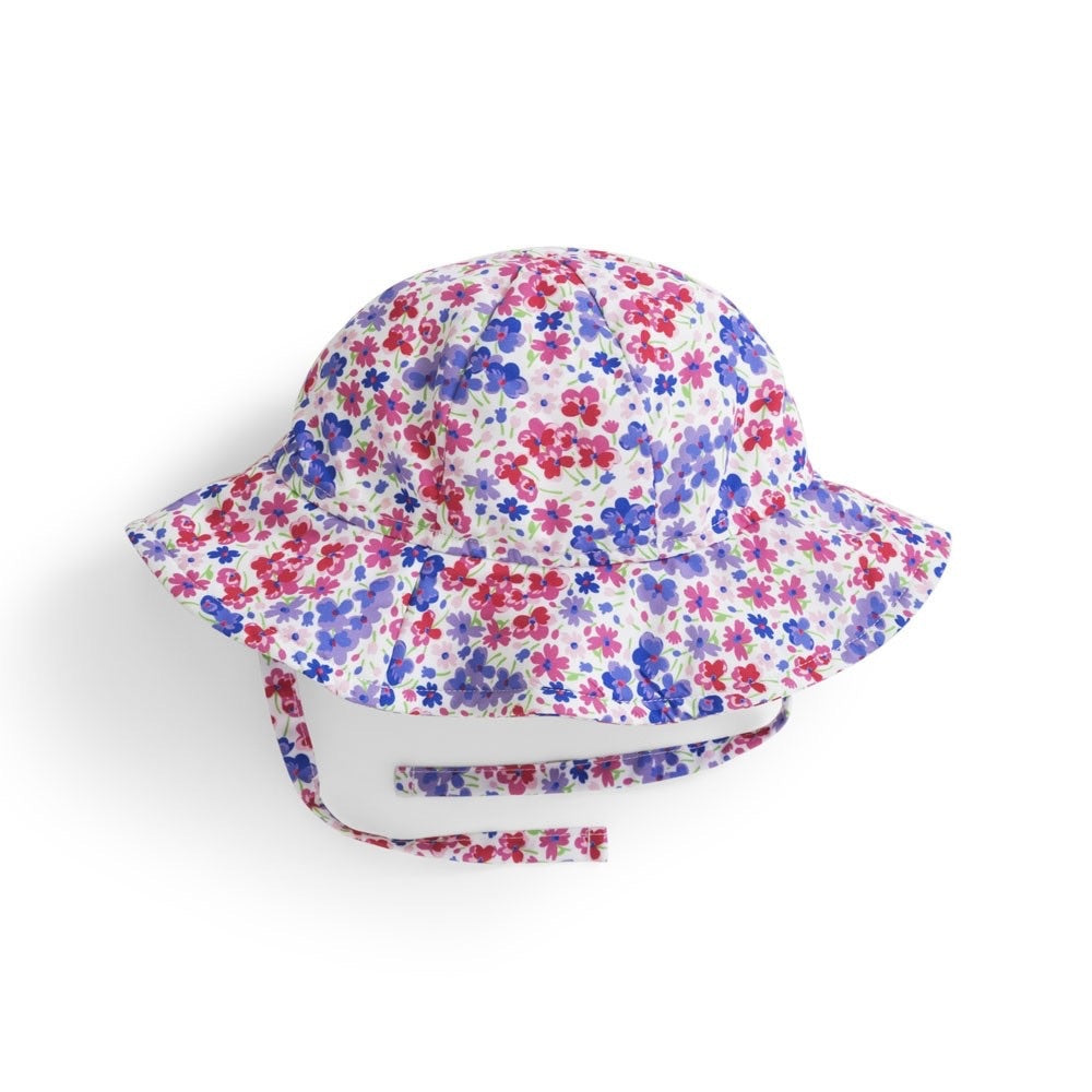 Girl's Floppy Blossom Print Sun Hat - Select Size