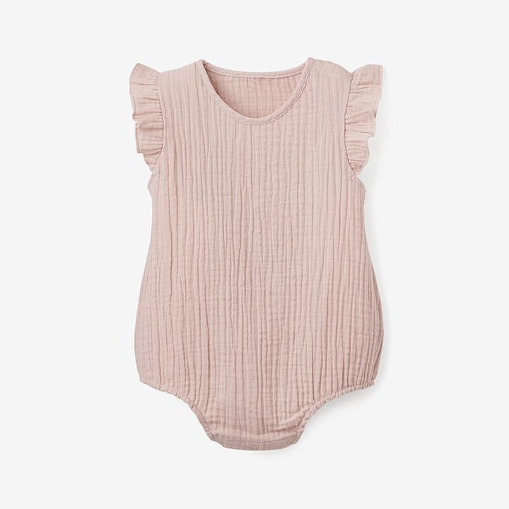 Organic Muslin Blush Bubble Romper - Select Size