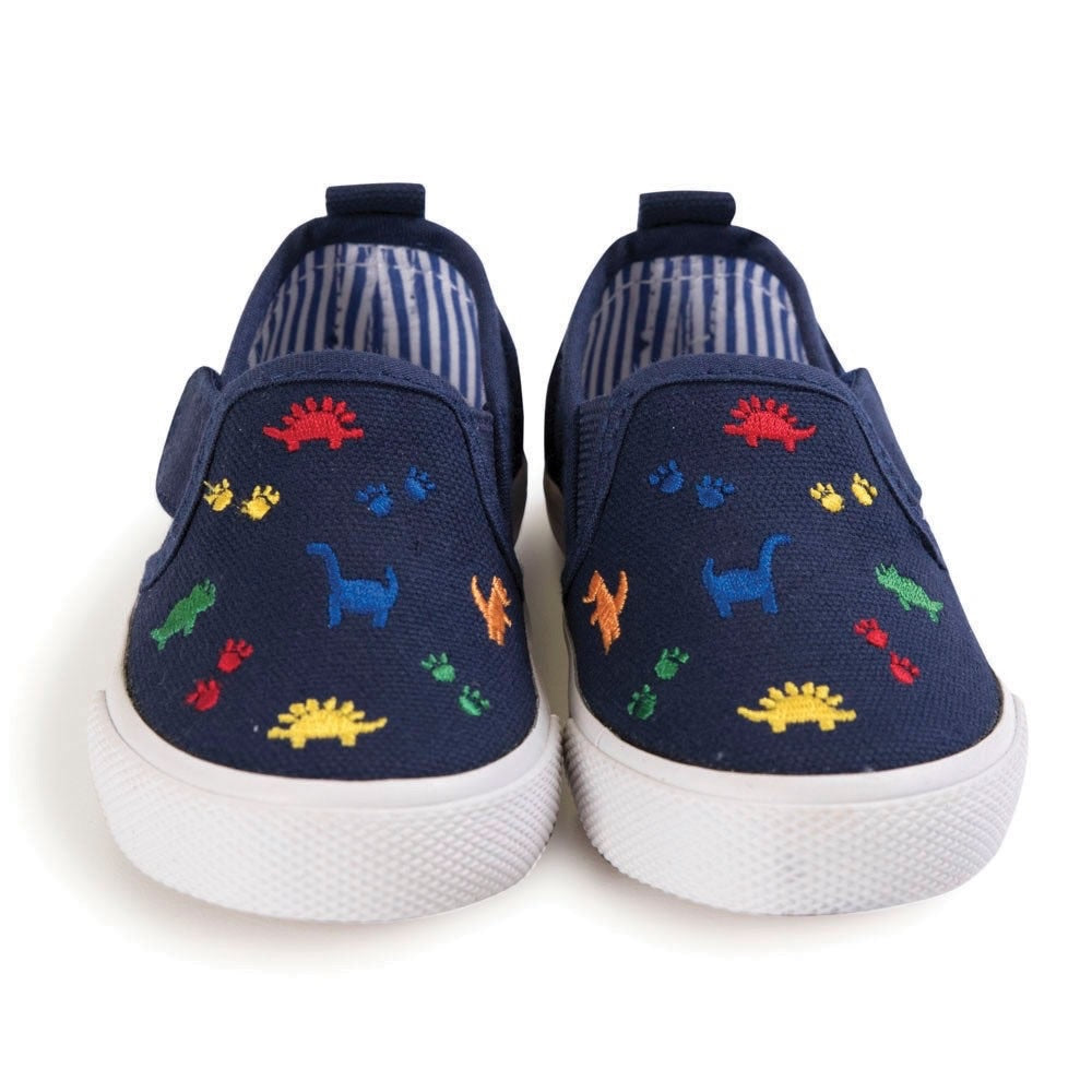 Navy Dinosaur Canvas Shoes - Select Size