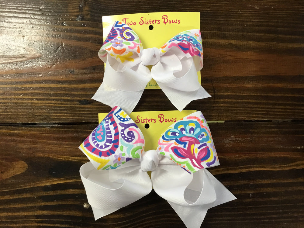 "Paisley- Bright -Handpainted White Hair bow - Choose 6"" or 8"""