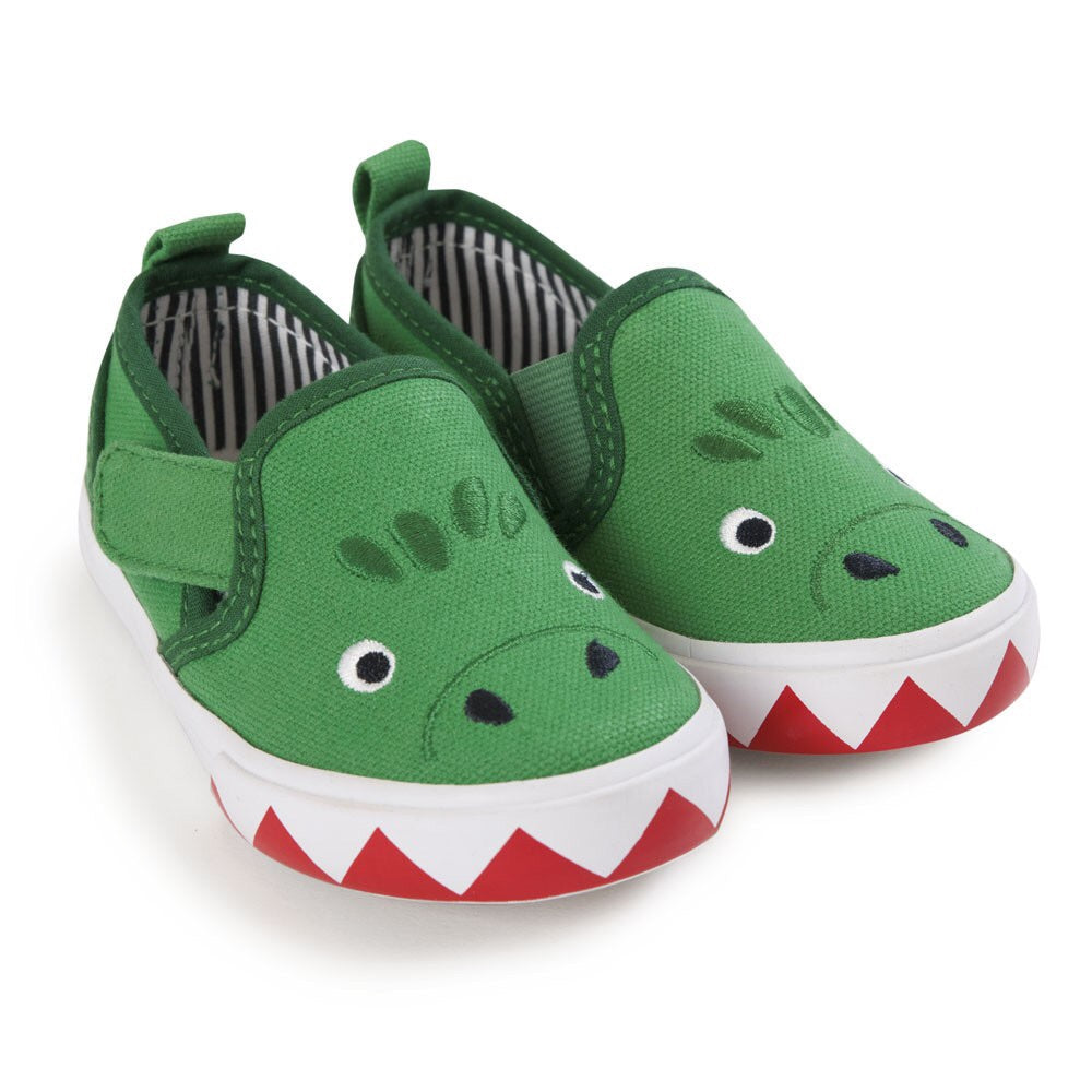 Green Dinosaur Canvas Shoes - Select Size