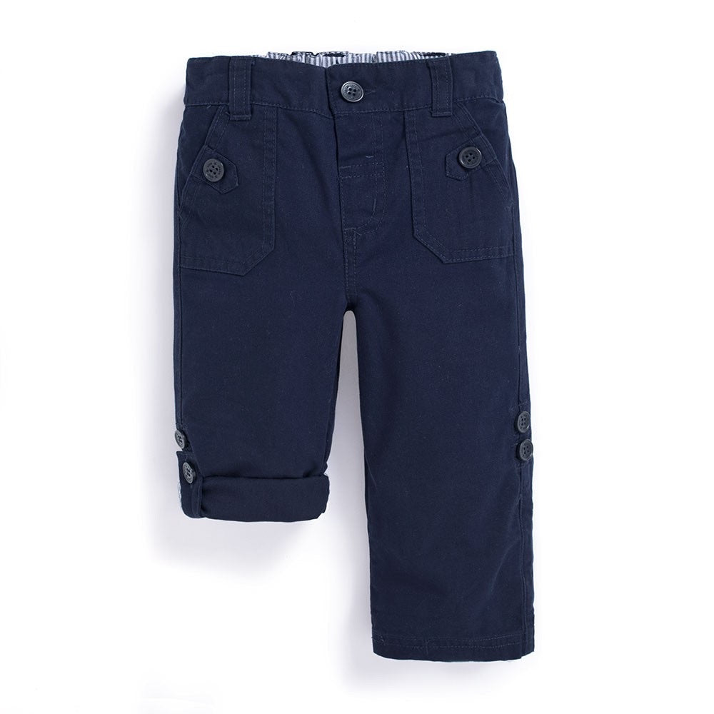 Twill Turn Up Trousers- Navy - Select Size