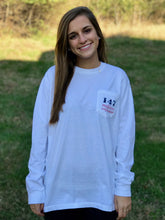White Comfort Color Long Sleeve Pocket Tee