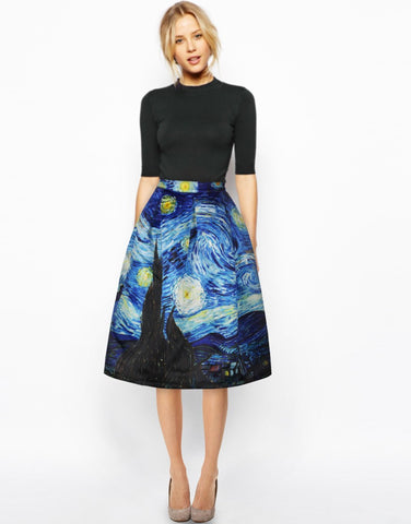 Pleated Midi Skirt Starry Night