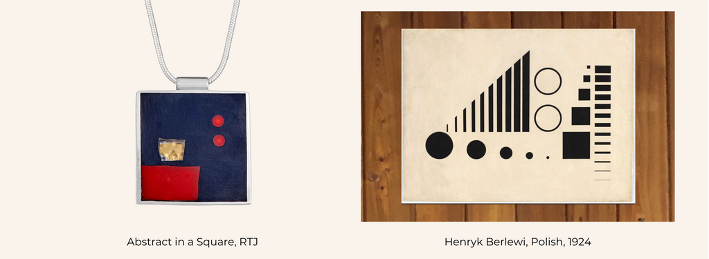 Abstract in a Square necklace + Henryk Berlewi