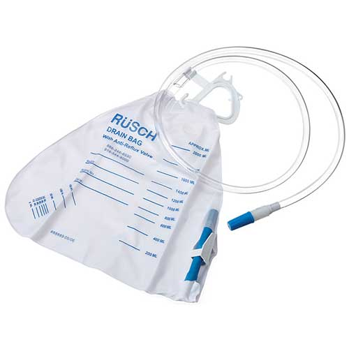 Teleflex Medical Inc Economy Urinary Drainage Bag with Anti-reflux Valve 2000mL, Sterile, Latex