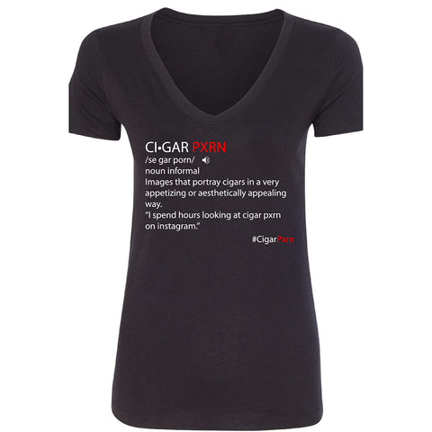 Black Cigar Pxrn Definition Women's V-Neck T-Shirt